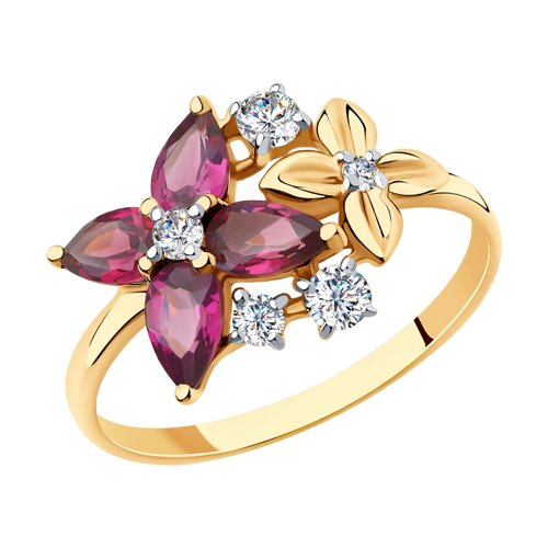 Кольцо из золота с родолитами и фианитами (715673) - фото