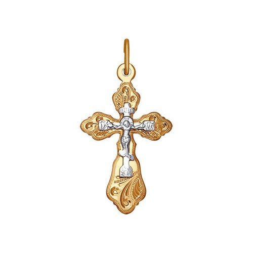 Крест из комбинированного золота с гравировкой (121215) - фото