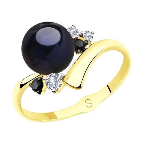 Кольцо из желтого золота с жемчугом и фианитами