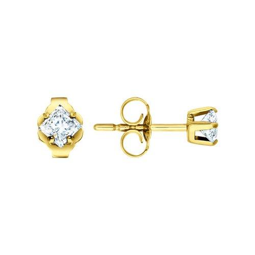 Серьги-пусеты из жёлтого золота с фианитом серьги пусеты из жёлтого золота с фианитами