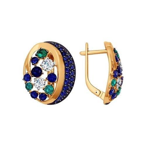 Серьги SOKOLOV из золота с зелеными, синими и бесцветными фианитами подвеска sokolov из золота с зелеными синими и бесцветными фианитами