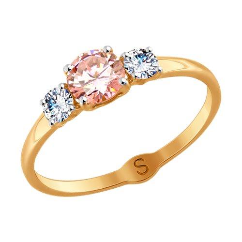 Кольцо из золота с бесцветными и розовым Swarovski Zirconia (81010407) - фото