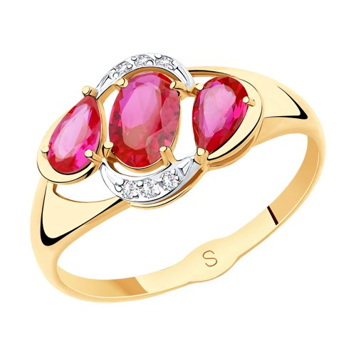 Кольцо из золота с красными корунд (синт.) и фианитами