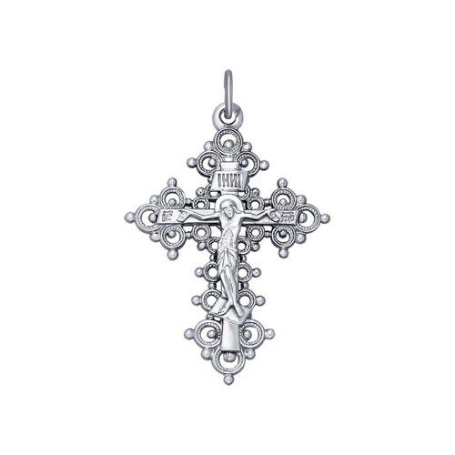 Православный широкий крест из белого золота