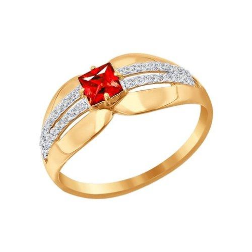 Кольцо из золота с красным фианитом