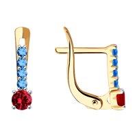 Серьги из золота с голубыми и красными фианитами