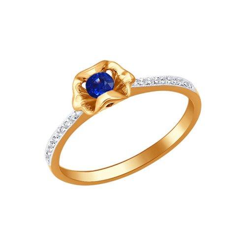 Фото - Кольцо SOKOLOV из золота с сапфиром и дорожками бриллиантов кольцо золотое с рубином и дорожками бриллиантов sokolov