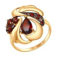 Кольцо из золота с гранатами и коричневыми и красными фианитами