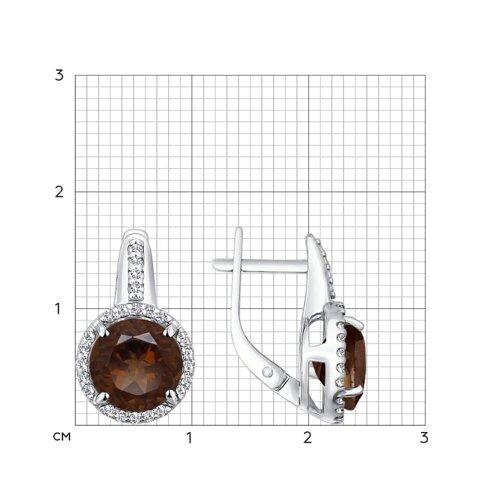 Серьги из серебра с раухтопазами и фианитами (92021096) - фото №2