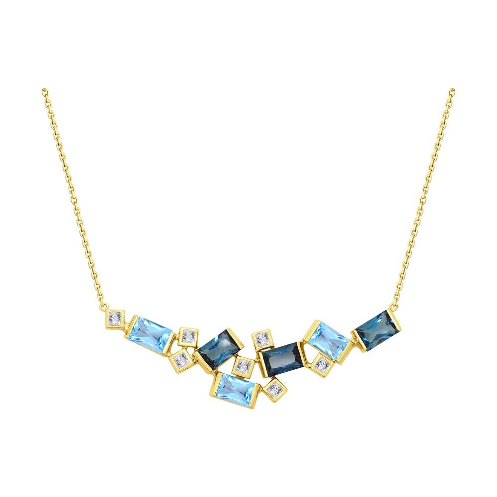 Колье SOKOLOV из желтого золота с голубыми и синими топазами и Swarovski Zirconia колье с топазами и бриллиантами из желтого золота valtera 69493
