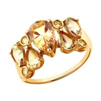 Кольцо из золота с топазами Swarovski и жёлтыми Swarovski Zirconia