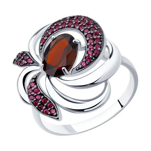 Кольцо из серебра с гранатом и красными фианитами (92011427) - фото