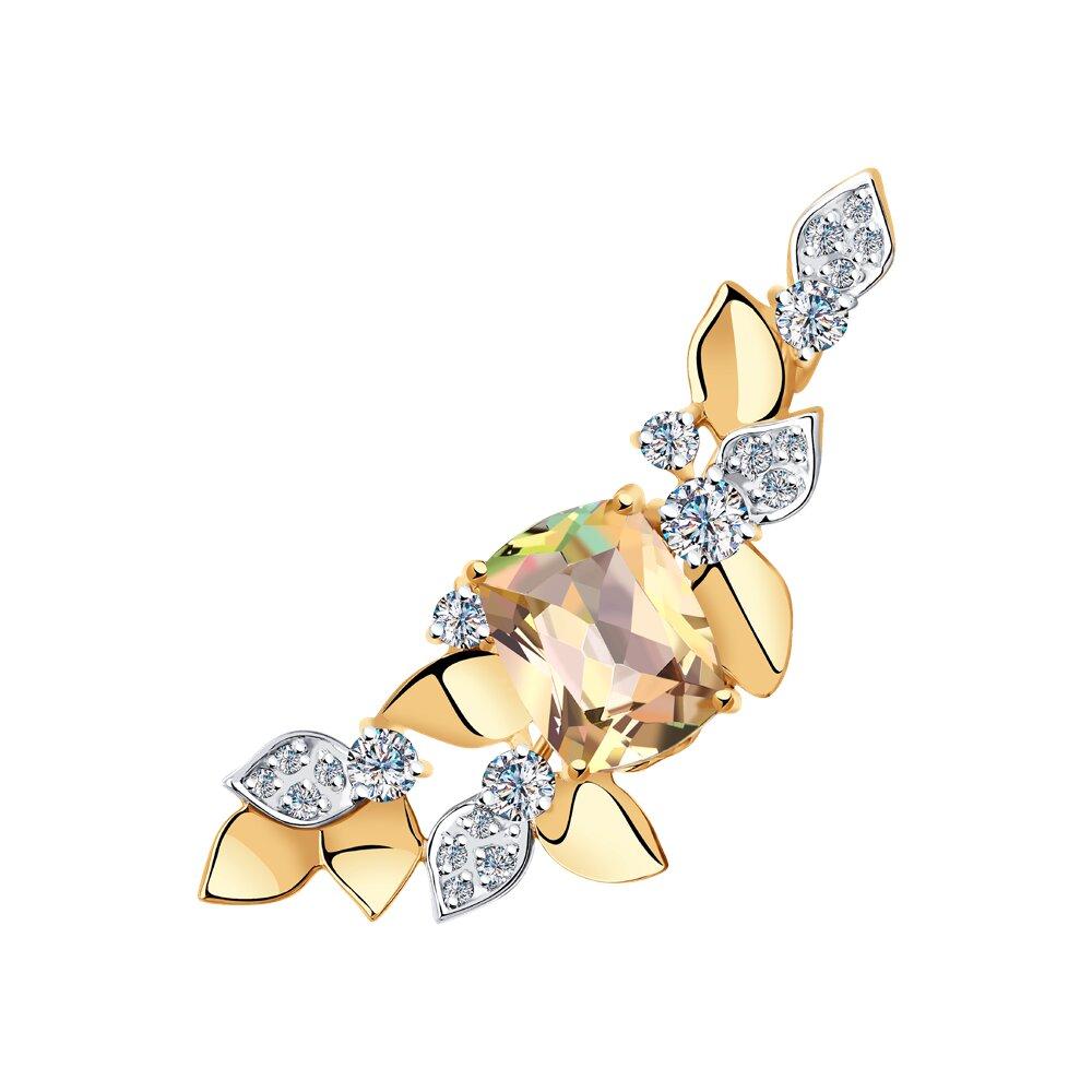 Брошь SOKOLOV из золота с топазом Swarovski и фианитами Swarovski модели swarovski swarovski facet лебедь женской розовое золото покрыло лебедь брошь 5297353