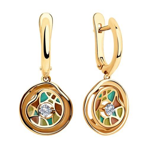 Серьги из комбинированного золота с бриллиантами (6029034) - фото №2