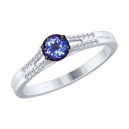 Кольцо из белого золота с бриллиантами и танзанитом (6014083) - фото