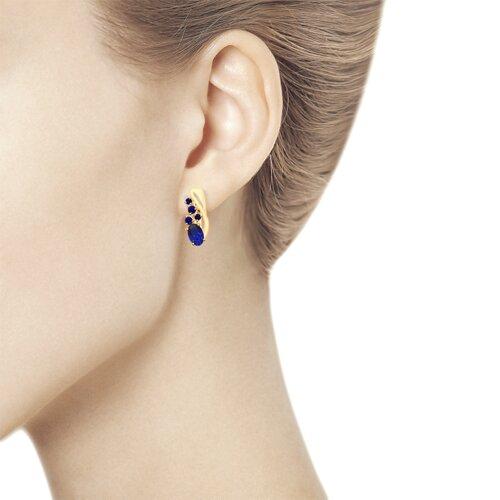 Серьги из золота с синими корунд (синт.) (725671) - фото №2