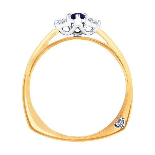 Кольцо из комбинированного золота с бриллиантами и сапфиром (2011084) - фото №2