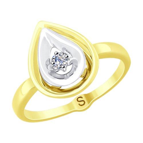 Кольцо из комбинированного золота с бриллиантом (1011784-2) - фото