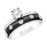 Кольцо из серебра с эмалью и горным хрусталем и фианитами