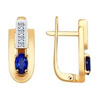 Серьги из золота с бриллиантами и сапфирами