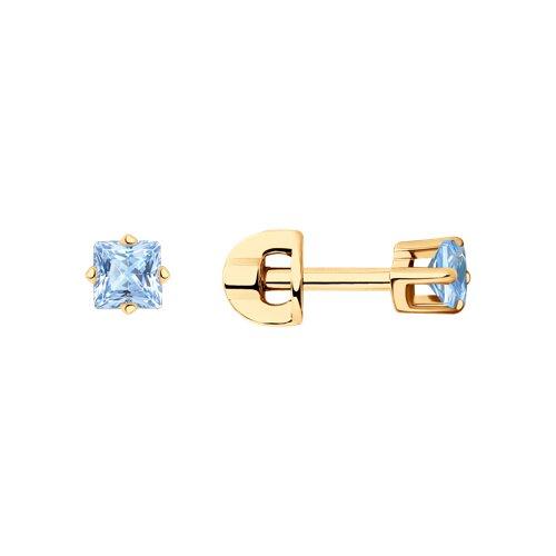 Серьги-пусеты из золота с голубыми фианитами