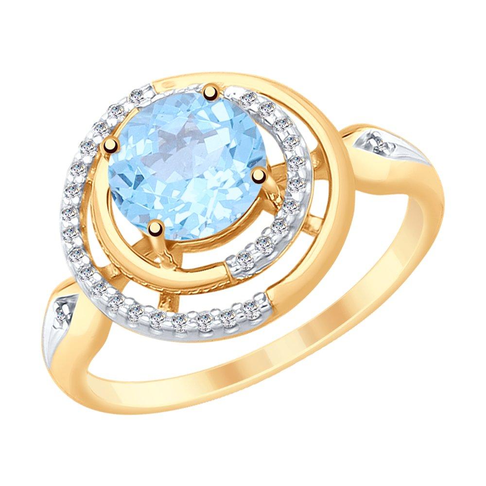 Кольцо SOKOLOV из золота с топазом и фианитами