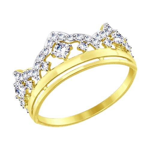 Кольцо из желтого золота с фианитами (017422-2) - фото