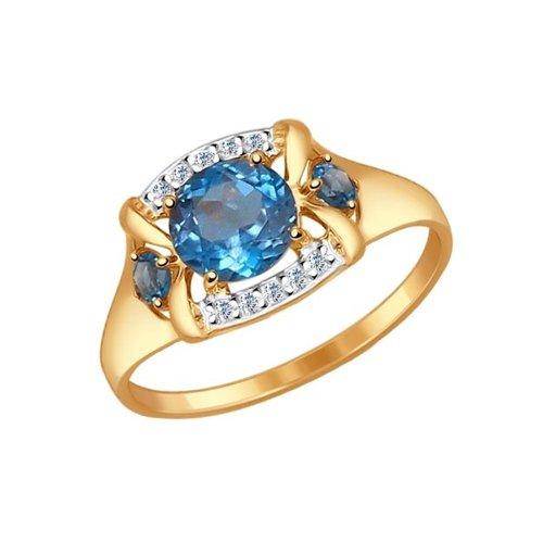 Кольцо SOKOLOV из золота с топазами и фианитами кольцо из золота с топазами и фианитами
