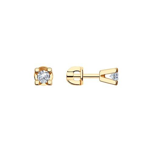 Серьги-пусеты из золочёного серебра с фианитами (93020530) - фото
