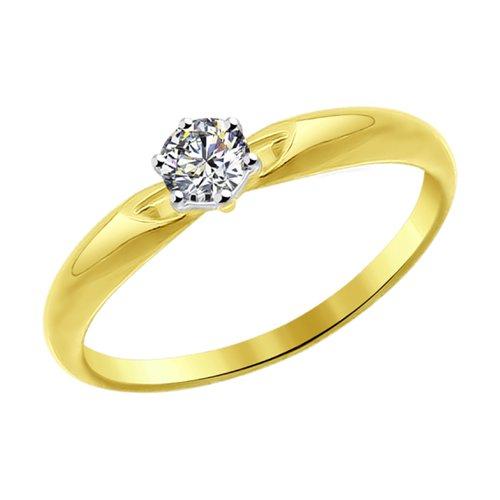 Кольцо из желтого золота со Swarovski Zirconia (81010214-2) - фото