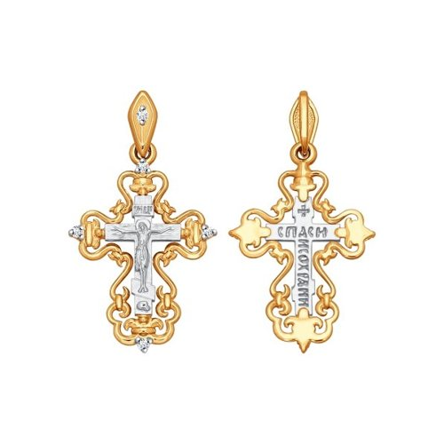 Крест из комбинированного золота с бриллиантами
