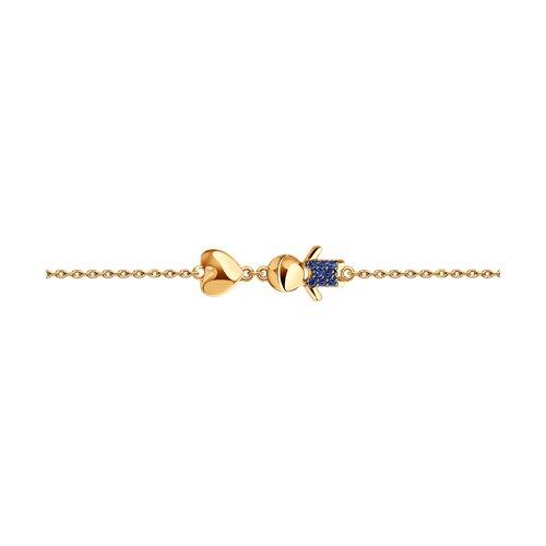 Браслет из золота с синими фианитами