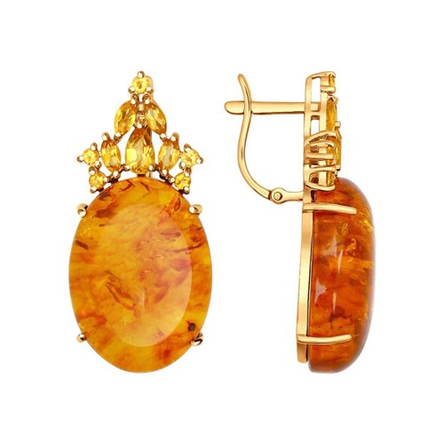 Серьги из золота с цитринами и янтарём (пресс.)