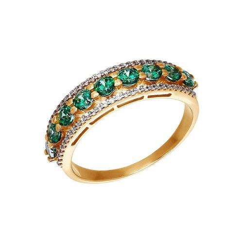 Золотое кольцо со сваровски зелёного цвета SOKOLOV золотое кольцо ювелирное изделие 01k684711ul