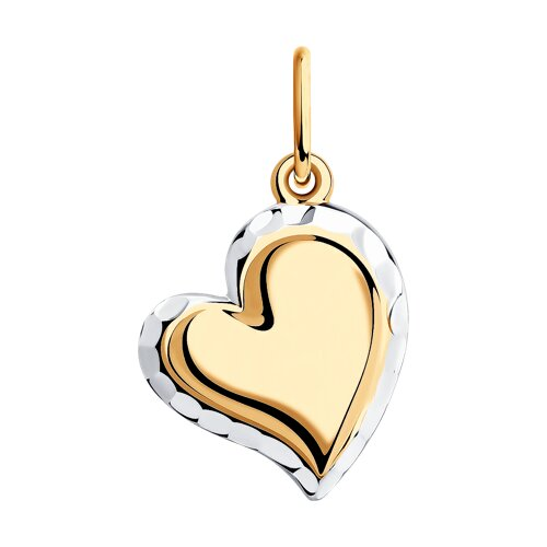 Подвеска в форме сердца из золота с алмазной гранью (035036) - фото