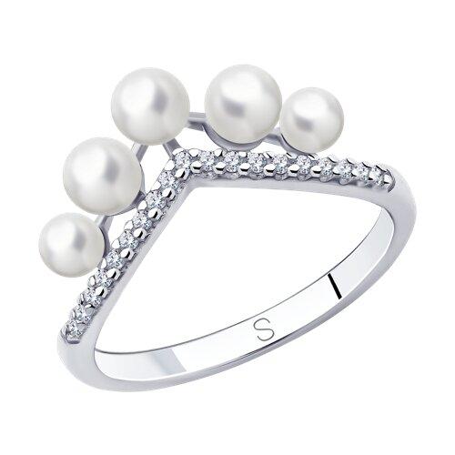 Кольцо из серебра с жемчугом и фианитами (94013114) - фото