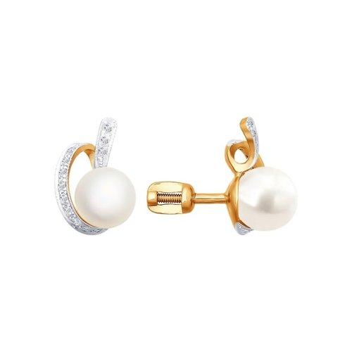 Серьги-пусеты из золота с бриллиантами и жемчугом цена 2017