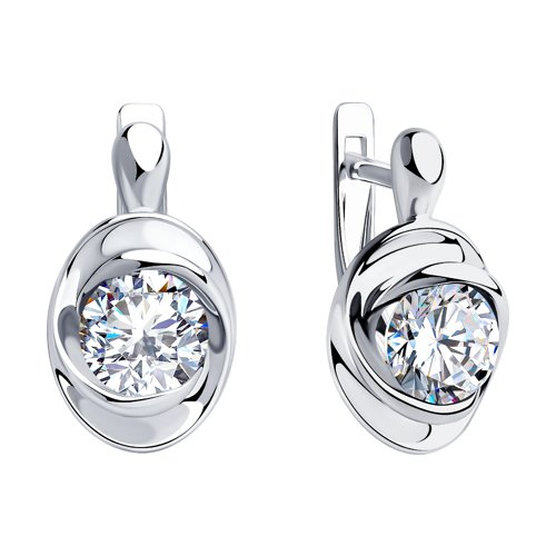 Серьги из серебра с фианитами (94023435) - фото №2
