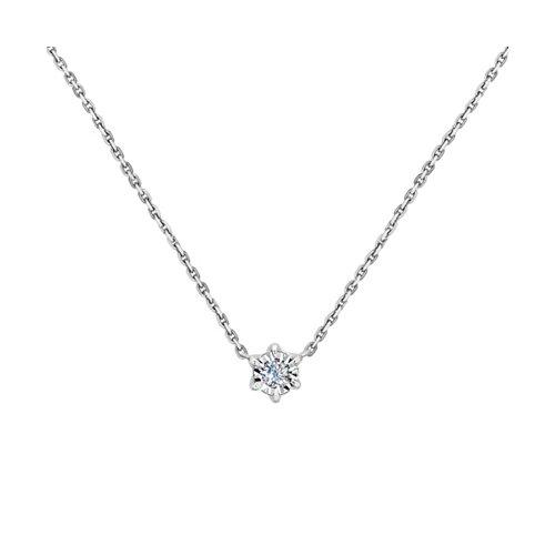 Колье из белого золота с алмазной гранью с бриллиантом (1070049-3) - фото