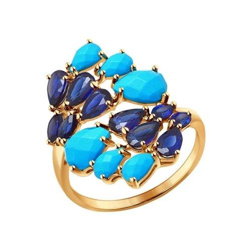 Кольцо из золота с бирюзой и корундами сапфировыми (синт.)
