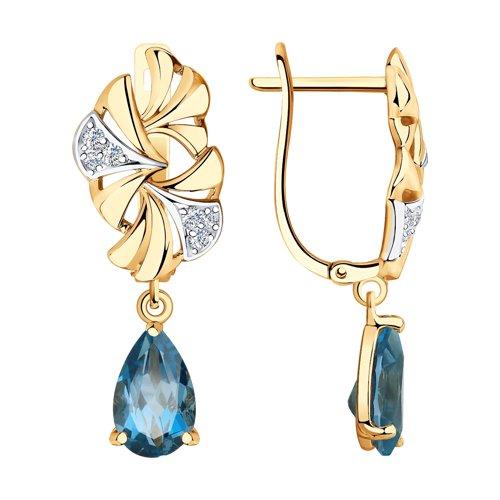 Серьги из золота с синими топазами и фианитами (726187) - фото
