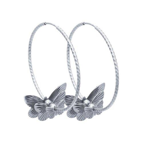 Серьги конго из серебра с алмазной гранью