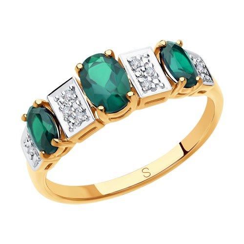 Кольцо из золота с бриллиантами и гидротермальным изумрудом (синт.) (6017031) - фото