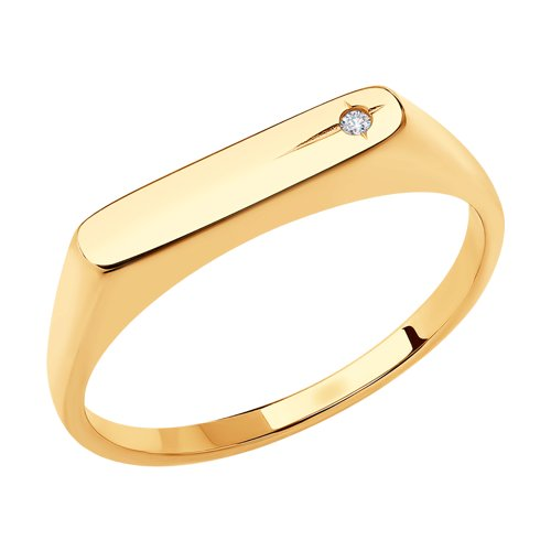 Кольцо из золота с искусственно выращенным бриллиантом