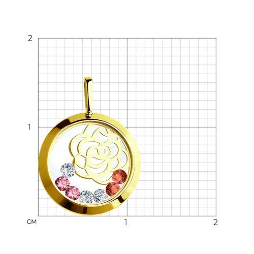 Подвеска из желтого золота с минеральным стеклом и бесцветными, красными и розовыми фианитами (035076-2) - фото №2