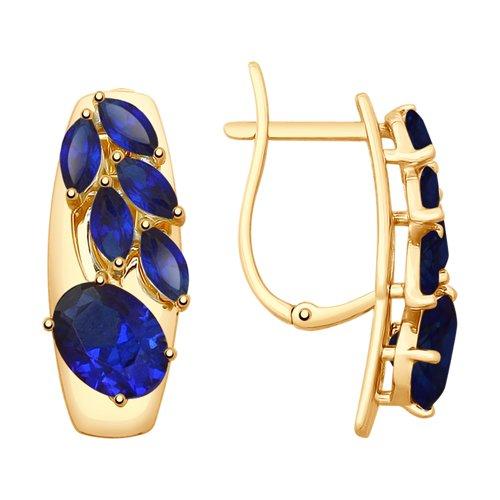 Серьги из золота с синими корундами (синт.) (725554) - фото