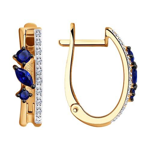 Серьги из золота с бриллиантами и сапфирами (2020987) - фото
