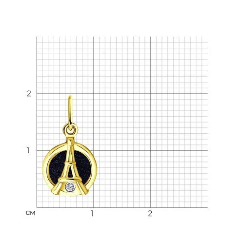 """Подвеска """"Эйфелева башня"""" из желтого золота с бриллиантом 1030777-2 SOKOLOV фото 2"""