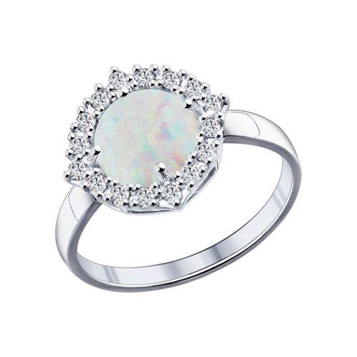 Кольцо из серебра с опалом и фианитами