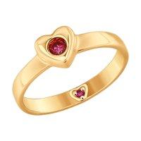 Кольцо из золота с красными фианитами